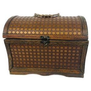 Rustic Small Wood Brown Decorative Storage Chest